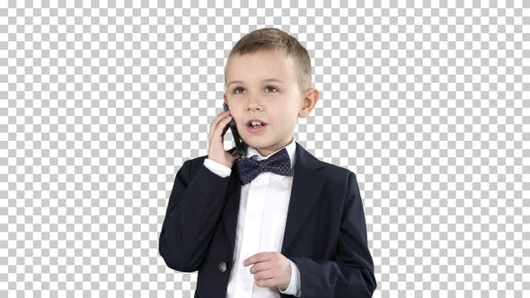 Thumbnail for Cute Little Boy Talking on His Smartphone and Standing in A