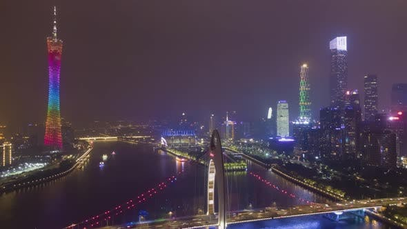 Liede Bridge and Guangzhou Cityscape at Night. Aerial View