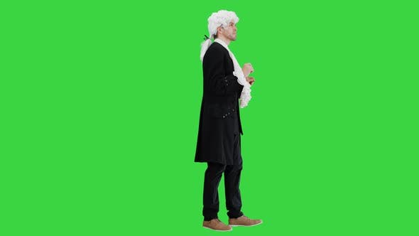Thumbnail for Man in Old-fashioned Laced Frock Coat and White Wig Thinking on a Green Screen, Chroma Key.