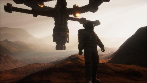 Astronaut Walking on an Mars Planet