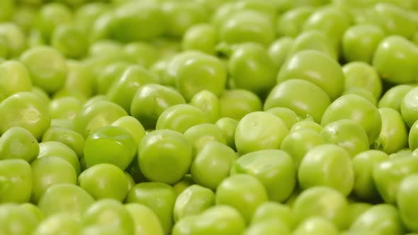 Close Up Green Peas Background Rotating