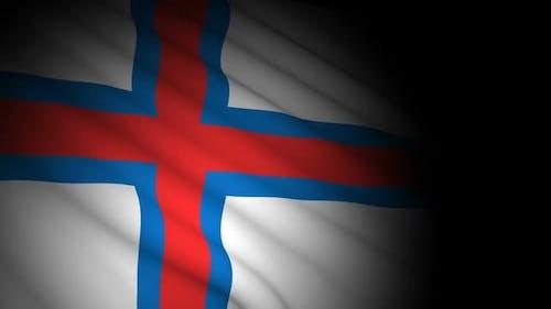 Faroe Islands Flag Blowing in Wind