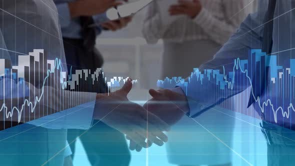 Business peoples interacting with data graphs