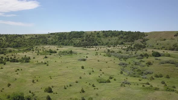 Thumbnail for Aerial Drone of Savannah Grassland in Summer Missouri River Bluffs