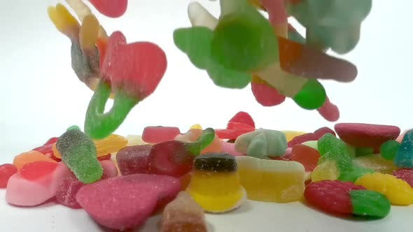 Thumbnail for Slow Motion of Falling Jelly Sweets
