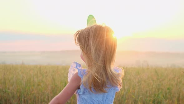 Thumbnail for Portrait of a Little Girl in the Wheat Field.