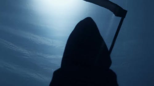 Silhouette of Inevitable Death With Scythe, Life of Senior Person Coming to End