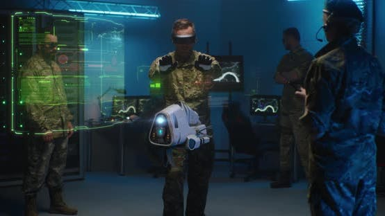 Thumbnail for Commander Controlling Futuristic Drone in Service Room