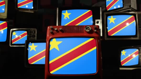 Thumbnail for Flag of the Democratic Republic of the Congo and Retro TVs.