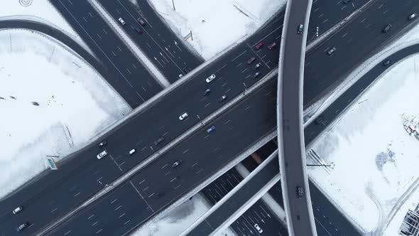 Freeway Intersection Snow-Covered in Winter