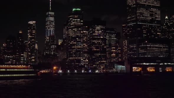 Thumbnail for Manhattan Urban Skyline at Night and Ship. New York City. View From the Water