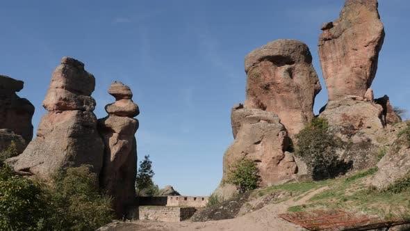 Thumbnail for Belogradchik group of rocks slow tilt 4K 2160p 30fps UltraHD footage - Strange natural  formations i