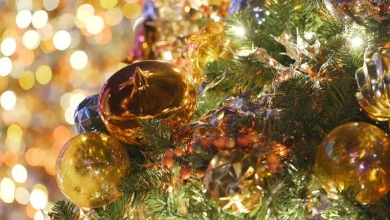 Thumbnail for Golden christmas tree decoration at night
