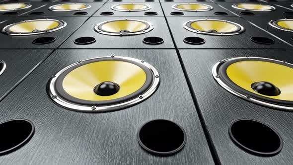 Thumbnail for Moving Left to Right over Audio Speakers with Yellow Membranes Playing Modern Music