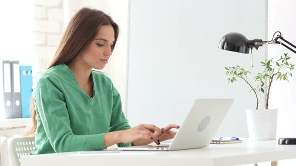 Thumbnail for Beautiful Woman Working On Laptop in Office
