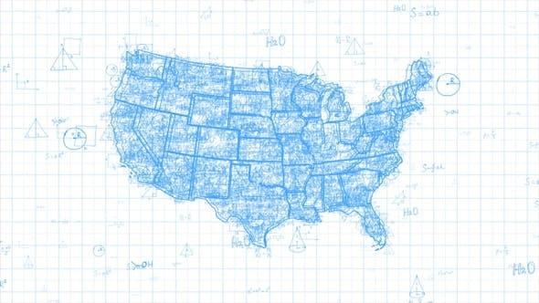 Thumbnail for White Abstract Math USA Map 4K
