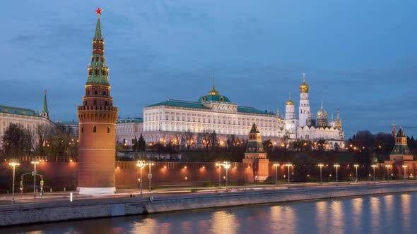 Thumbnail for Moscow, Russia, Timelapse  - The Kremlin at dusk