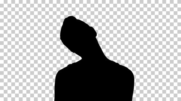 Thumbnail for Silhouette Smiling Woman Relaxing Her Neck Muscles Doing