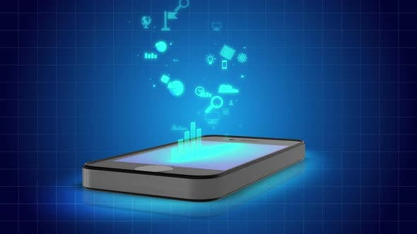 Computer Animation of Smartphone With Icons, Online Applications Make Life Easy