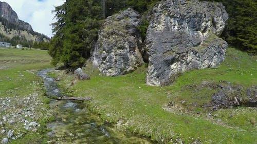 View of Mountain Rivulet Flowing Between Huge Stones, Dolomites, Landscape