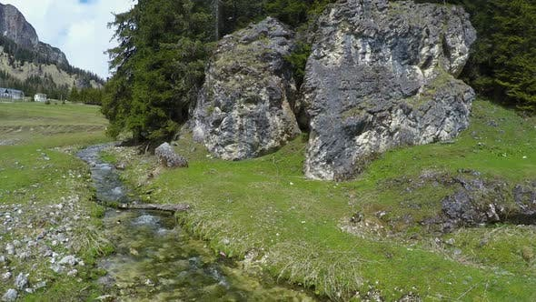 Thumbnail for View of Mountain Rivulet Flowing Between Huge Stones, Dolomites, Landscape