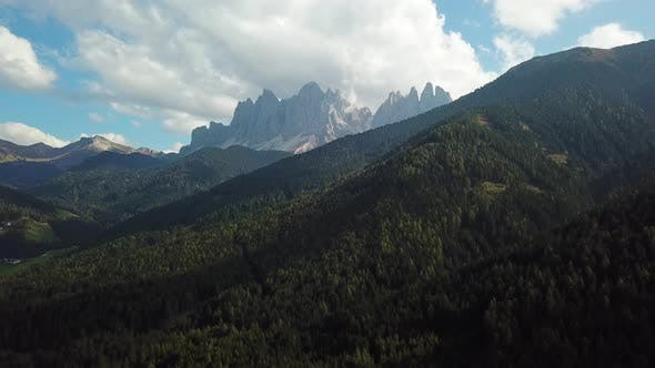 Thumbnail for Val Di Funes, Italy, Dolomites. Aerial Footage in Autumn Mountains