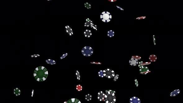 Falling Poker Chips on Black Background