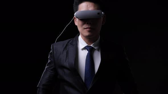 Business man wearing smart glasses