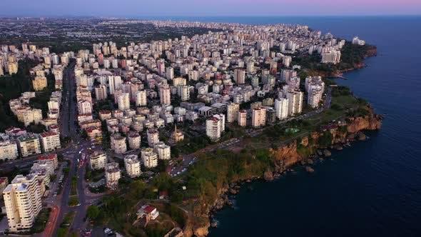 Aerial View of Mediterranean Coast of Turkey