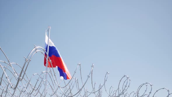 Flag Russian Waving on Blue Sky Barbed Wire Concept Liberty Censor
