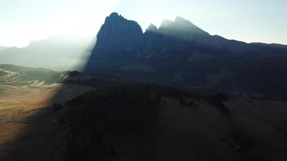 Thumbnail for Aerial Misty Sunrise Scenery at Alpe Di Siusi, Dolomite Alps, Italy