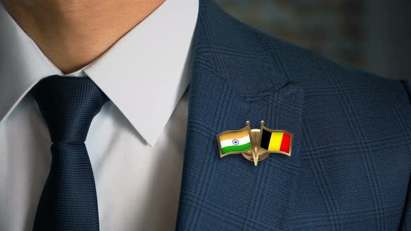 Thumbnail for Businessman Friend Flags Pin India Belgium