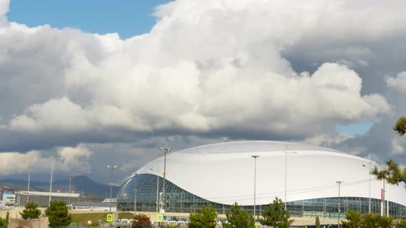 Thick Rainclouds Swirling Over Ice Dome Sochi