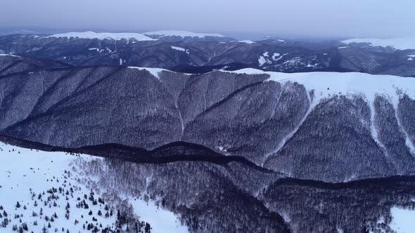 Winter Carpatians nature, aerial view realtime, UHD 4K
