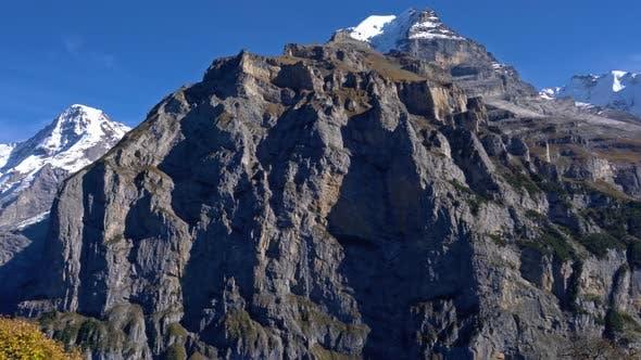 Eiger Monk And Jungfrau Mountains In Alps As Seen From Murren Village Berner Oberland Switzerland