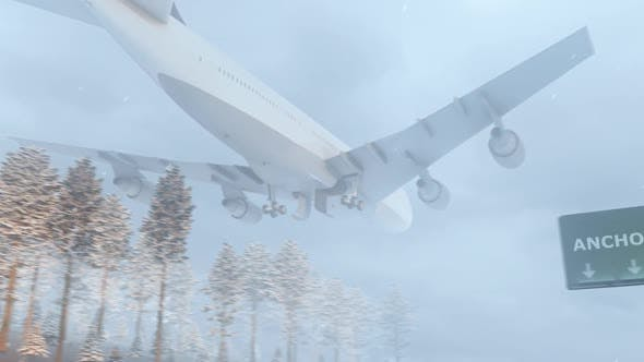 Thumbnail for Flugzeug kommt im verschneiten Winter in Anchorage City an