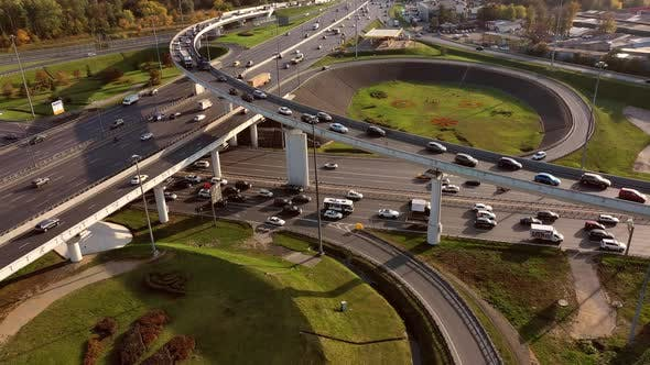 Thumbnail for Aerial View of a Freeway Intersection Traffic Trails in Moscow.