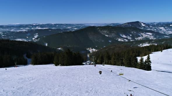 Thumbnail for Ski Lift at Ski Resort in Sunny Carpatian Mountains