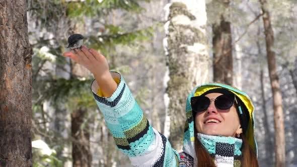 Thumbnail for Bird in Women's Hand Eat Seeds