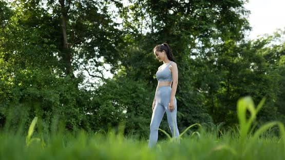 Woman yoga in the garden