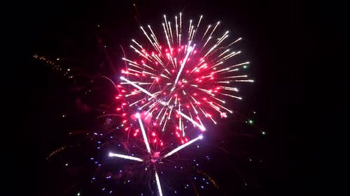 Beautiful Colorful Holiday Fireworks in the Evening Sky with Show Independence Day 4Th July