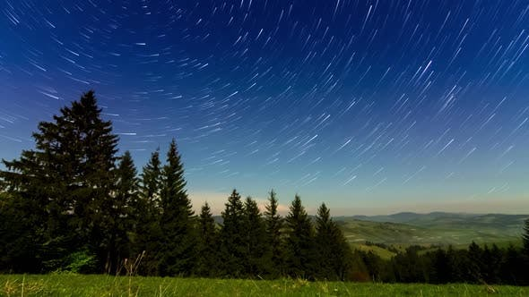 Beautiful Footage of Hillside of Mountain Range with Coniferous Forest and Meadow Path at Night in