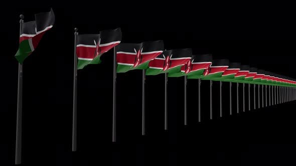 Row Of Kenya Flags With Alpha 4K
