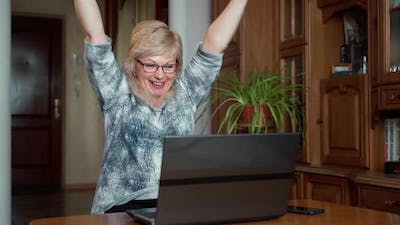 Senior successful businesswoman using laptop at home living room office