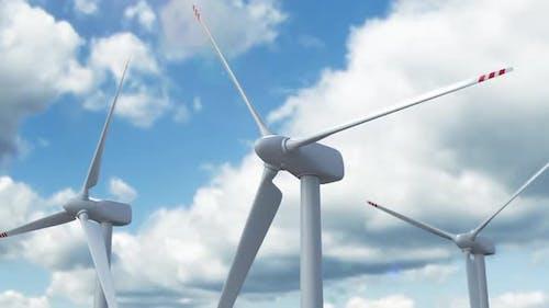 Alternative Energy Farm with Windmills and Wind Turbine
