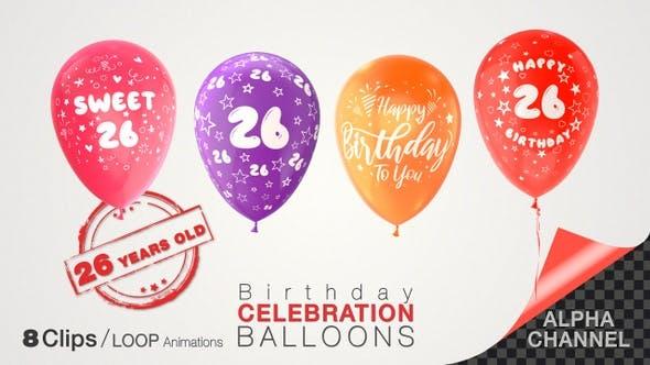 Thumbnail for 26th Birthday Celebration Balloons / Twenty-Six Years Old
