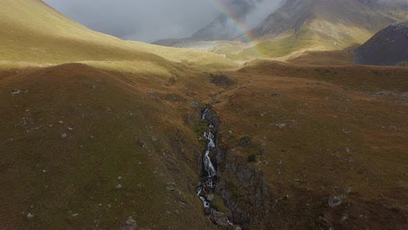 Misty Mountain and Rainbow aerial view