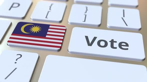 VOTE Text und Flagge von Malaysia auf den Buttons
