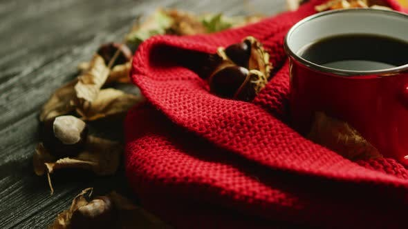 Thumbnail for Leaves and Nuts Near Scarf and Hot Beverage