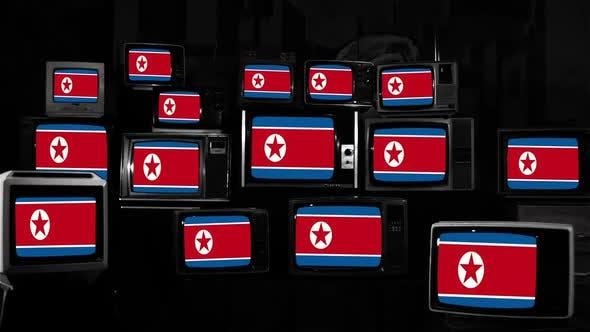 Thumbnail for North Korea Flag and Retro TVs.